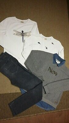 Zara Girls White Top Gray Trousers Mayoral Jumper Age 13-14 Years