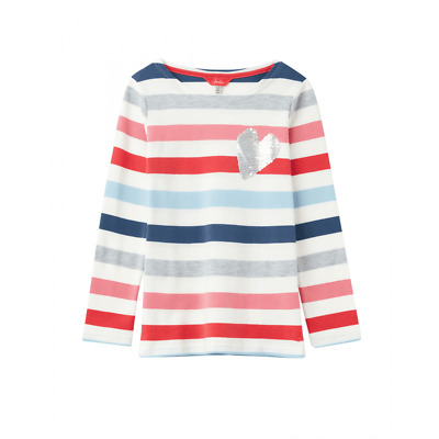 Joules Junior Harbour Luxe Girls Top - White Multi Heart