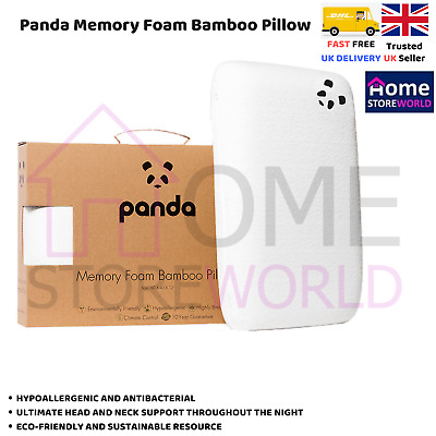 Panda Luxury Memory Foam Bamboo Pillow , White , Highly Breathable ,