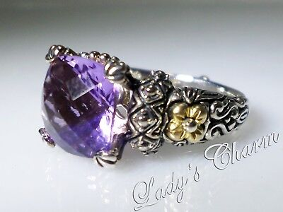 Barbara Bixby Classic Amethyst Sterling Silver 18k Gold Ring Size 6