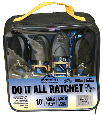 x 10 ft 2 Pack 1 in Blue Ratchet Tie Down Motorcycle Strap 1300lbs 1x10 600Kg