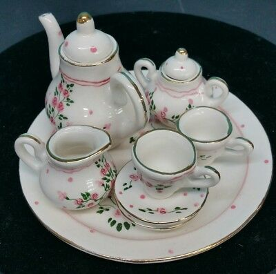 BEAUTIFUL Antique Miniature Porcelain 8 piece Coffee Tea Set Hand-Painted