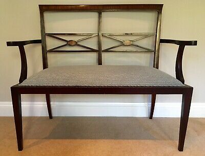 Antique Edwardian mahogany inlaid wooden parlour/hall settee/2 seater chair