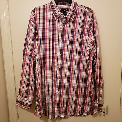 US Polo Assn NWT Mens L Large Plaid Check Button Up Casual Shirt Top Purple Pink