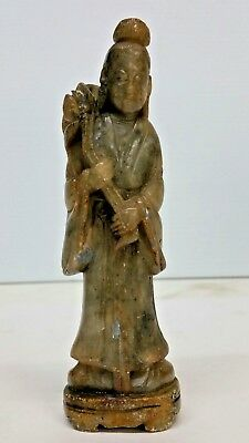 Antique Chinese Soapstone Guanyin Kwan-Yin Hand Carved