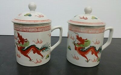 Pair Vintage Chinese Porcelain Tea Cups With Lids