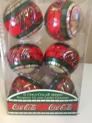 Vintage Coca Cola Stained Glass Light Covers Set Of 6 Christmas Ornaments 1997
