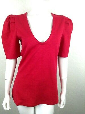 Free People Womens Red Blouse puff sleeves New tags top