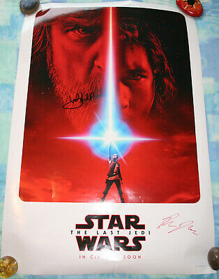 AUTHENTICATED Star Wars The Last Jedi Theatrical Poster Signed Mark Hamill 2017