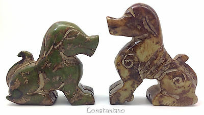 Beautiful Hand Carved Old Chinese Jade Gift-Set: 2 Dogs, One Rare Big Brown