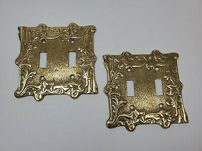 Vtg Brass Double Light Switch Cover from Japan - Shabby *revised now Lot of 2