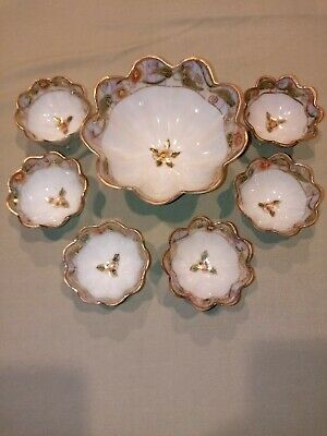 Nippon porcelain 7 piece Hand-painted Nut Serving Set