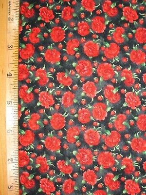 Flowers Strawberries Delight Print On Shaded Black cotton fabric BY THE YARD BTY