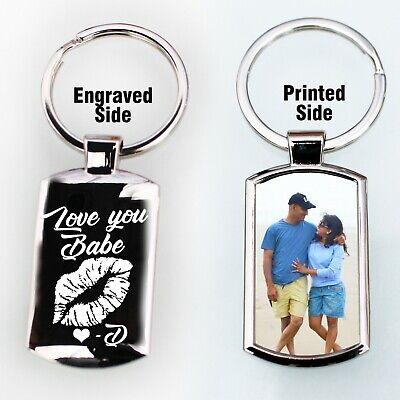 Personalised  Photo Printed Engraved Valentines Day Design Love Keyring chain 💕