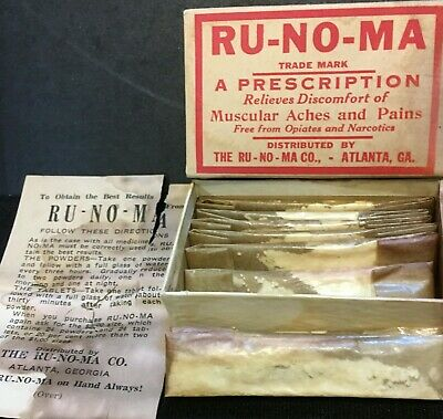 Antique Medicine: Ru-No-Ma Powders W/Full Contents, Drug Pharmacy Quack.