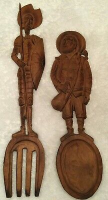 Vintage Don Quixote & Sancho Panza Hand Carved Wooden Fork And Spoon Set Spain
