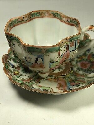 Antique Chinese Rose Medallion Porcelain Cup And Saucer