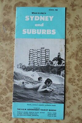 Vintage WHERE TO STAY SYDNEY and SUBURBS March 1968 Hotels Motels Manly etc