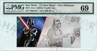 2018 Silver Star Wars Darth Vader - 5 Gram Coin Note - Pmg 69 First Releases