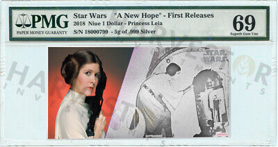 2018 Silver Star Wars Princess Leia - 5 Gram Coin Note - Pmg 69 First Releases
