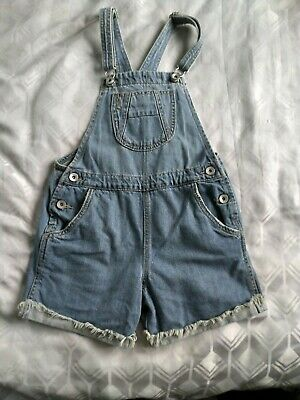 NEXT Blue Denim Cotton Shorts Dungarees Age 10 years height 140cm