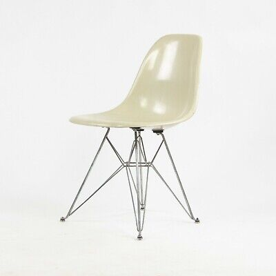 1951 Herman Miller Eames Fiberglass Side Shell Chair Ivory Eiffel Tower Base DKR
