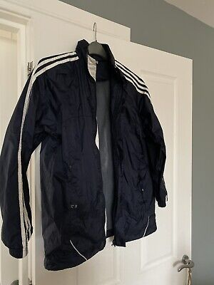 Navy 3 Stripe Adidas Hooded Raincoat Windcheater Age 12-14 Boys