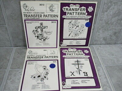 Pretty Punch Embroidery Hot Iron Transfer Patterns Lot of 4 Religious Spiritual