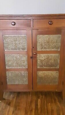 1800's Square Nail Antique Pie Safe Punch Tin Door Country Style Board Back