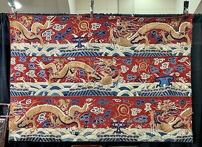 Gorgeous Chinese Silk Brocade Panel With Gold Metallic Dragons 66 X 46 Inches