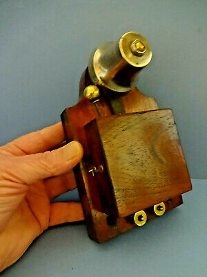 EARLY 20thC EDWARDIAN ENGLISH OAK BUTLERS ELECTRIC SOLENOID HOUSE BELL. c 1910
