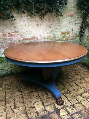 Antique Round Mahogany Tilt Top Breakfast Table,Cylindrical Column And Claw Feet