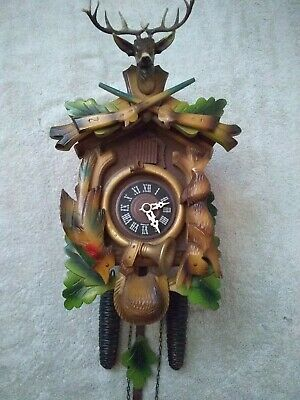 Black Forest Hunter Mechanical 30 Hour Cuckoo Clock With Antlers Excellent...