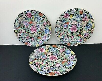Nice Antique 19th Century Chinese Guangxu Period Porcelain Milifloral Plate Set