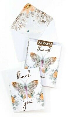 """""""Paisley Butterfly"""" Papaya Art Thank You Boxed Set of 6 Cards with envelopes"""