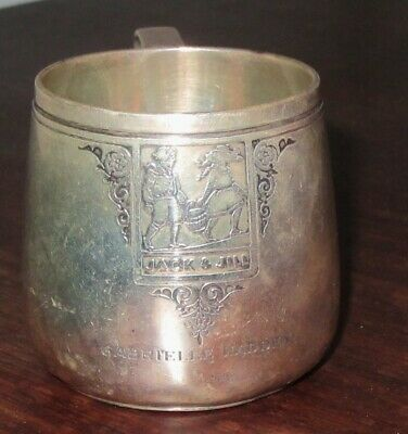 Antique Tiffany & Co  Sterling Silver Childs Mug Cup Nursery with Jack & Jill