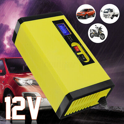 12V 8A Car Battery Charger Smart Intelligent Pulse Repair LCD Display Lead