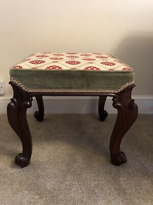 Antique Mahogany Footstool With Tapestry Upholstery