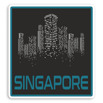 2 x 10cm Singapore Luggage Travel Sticker Car Bike iPad Laptop Decal Gift #9702