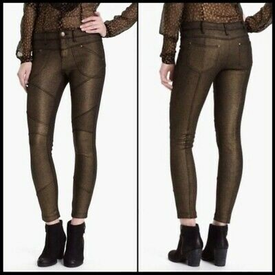 Free People Metallic Gold Stretch Moto Pants/Jeans Size 28 in EUC