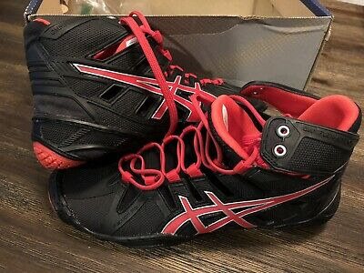 NEW Asics Omniflex Attack wrestling shoes - Mens Size 6 Black/Red Pepper