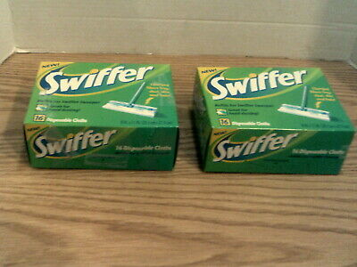 Two Boxes of 16 Count Swiffer Sweeper Cloth Refills.