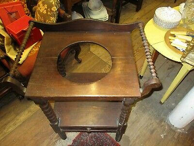 Antique Dark Stained Pine Wash Stand