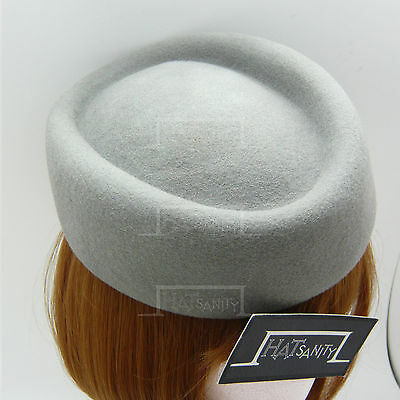 CLASSIC Wool Felt Ladies Pillbox Hat Women Fascinator Headpiece | Grey | Round