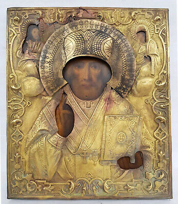 Antique 19th C Russian Hand Painted Wooden Icon of St.Nicholas in Brass Riza