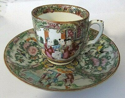 Antique Rose Medallion Cup And Saucer Handpainted Birds And Roses 1800'S