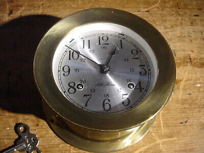 """Vintage Seth Thomas """"Corsair"""" 8 Day Ship's Bell Brass Wall Clock Working Well"""