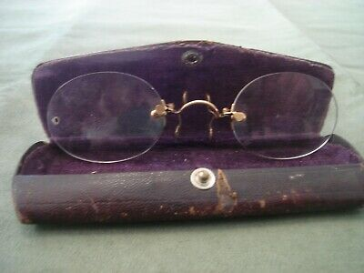 Antique Nose Clip Spectacles with case Patented Feb 20,06 FREE SHIPPING