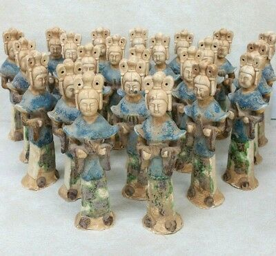 22 Chinese Tang Style Parcel Gilt Glazed Ceramic Figures
