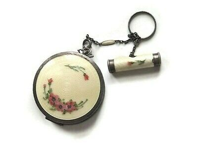 Antique R&G Co Sterling and Cream Floral Guilloche Enamel 2-Piece Tango Compact